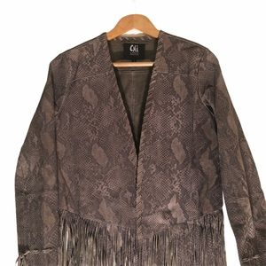 Chi brown python look suede fringe jacket size M